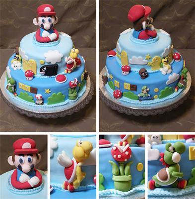 Super Mario Birthday Cake on Black Tire Tracks Images Mario Amazing Photo Mario Lots Of
