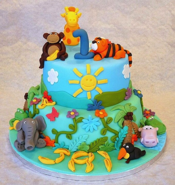 Animal jungle safari theme kids birthday party cakes and for Animal cake decoration