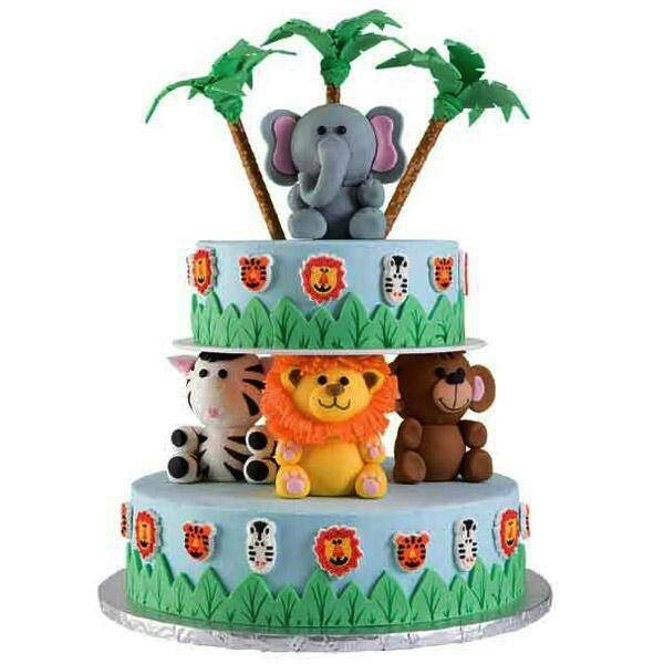 Animal Jungle Safari Theme Kids Birthday Party Cakes and Cupcakes - Mumbai
