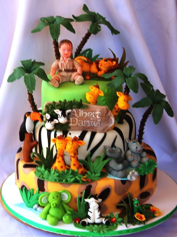 Jungle Birthday Cake Images : Animal Jungle Safari Theme Kids Birthday Party Cakes and ...